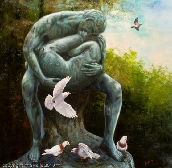 Patsas,kyykyset,statue,pigeons